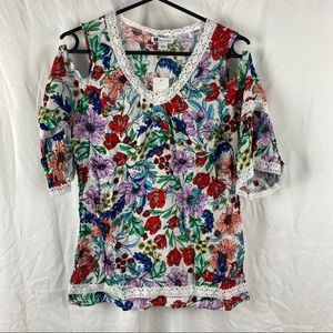 White Floral Cold Shoulder Top Size's 8 To 20